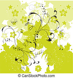 floral, abstract, vector, achtergrond