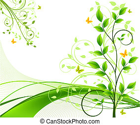 floral, abstract, vector, achtergronden