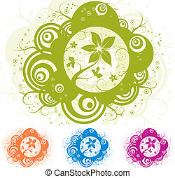 floral, abstract, vector, ontwerp, element