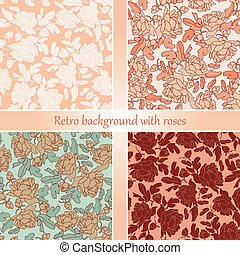Floral abstract vector pattern background set. Romantic wallpapers.