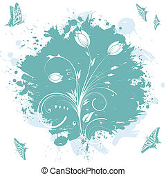 Floral abstraction - Grunge floral background with...
