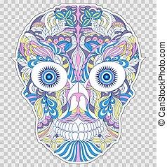 floral, abstratos, cranio