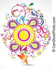 floral, abstratos, elemento