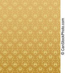 floral, abstratos, elementos, fundo, ouro