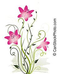 floral, abstratos, elementos