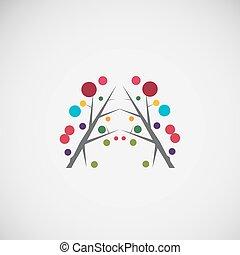 floral, abstratos, frame.