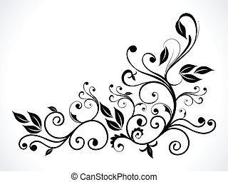 floral, abstratos, pretas