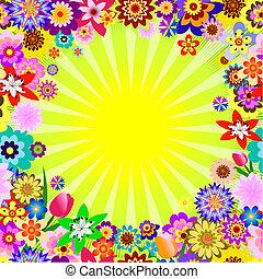 floral, abstratos, raios, fundo