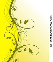 floral, abstratos, vetorial, fundo, amarela