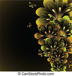 floral, achtergrond., abstract, vector