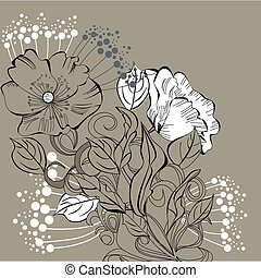 floral, achtergrond, element