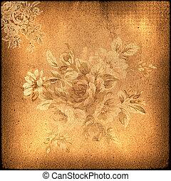 floral, achtergrond., grunge