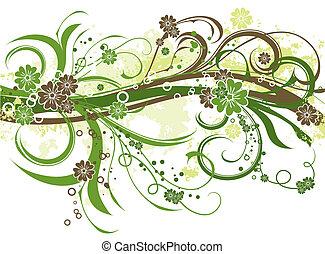 floral, achtergrond, grunge, vector