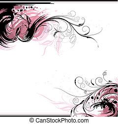 floral, achtergrond, inkt