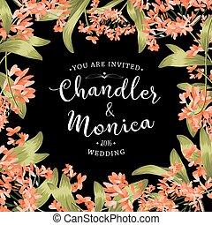 floral, achtergrond, kaart, uitnodiging