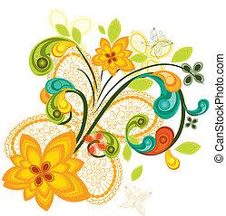 floral, achtergrond kleurde