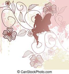 floral, achtergrond, met, elfje, vorm
