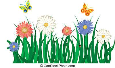 floral, achtergrond, met, gras, bloemen, en, butterflies., vector, illustratie