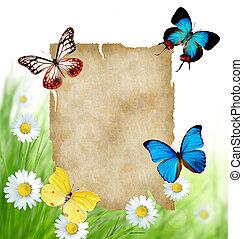 floral, achtergrond, met, leeg, papier, en, vlinder