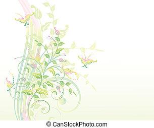 floral, achtergrond, met, planten, en, b