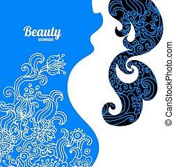 floral, achtergrond, met, zwangere vrouw, silhouette