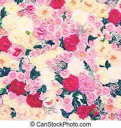 floral, achtergrond, muur, van, bloemen, toned, foto, gematigd, pastel, col