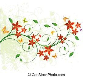 floral, achtergrond, ontwerp