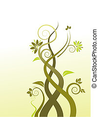 floral, achtergrond, vector, abstract