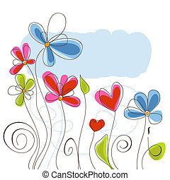floral, achtergrond, vector, illustratie