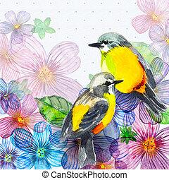 floral, acuarela, retro, tarjeta