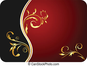 floral, affaires illustration, carte, rouges