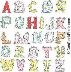 floral, alfabet