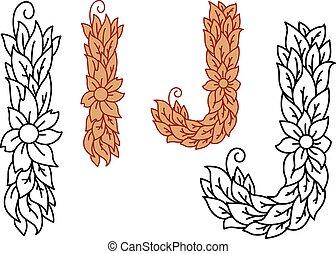 floral, alfabeto, j, letras, foliate