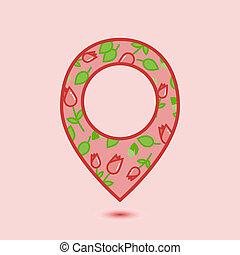 floral, alfinete, ícone, em, apartamento, estilo, isolado, ligado, luz, cor-de-rosa, experiência., alfinete, símbolo, para, um, web site, desenho, logotipo, app, ui., vetorial, illustration.