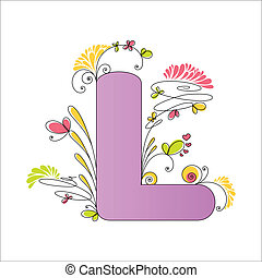 floral, alphabet., coloré, lettre