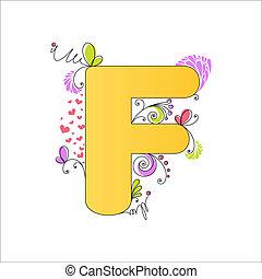 floral, alphabet., coloré, lettre f