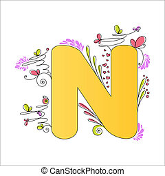 floral, alphabet., coloré, lettre n