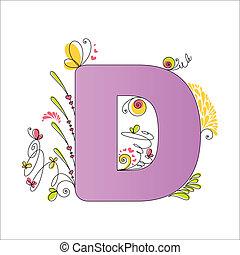 floral, alphabet., coloridos, letra, d