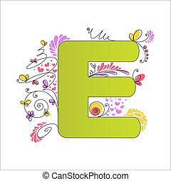 floral, alphabet., e, coloré, lettre