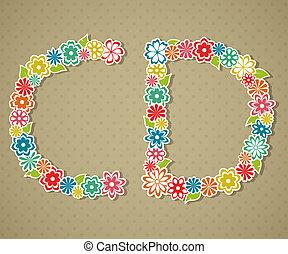 floral, alphabet.