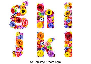 Floral Alphabet Isolated on White - Letters G, H, I, J, K, L