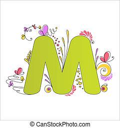 floral, alphabet., m, coloré, lettre