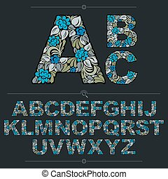 Floral alphabet sans serif letters drawn using abstract vintage pattern, spring leaves design. Blue vector font created in natural eco style.