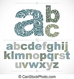Floral alphabet sans serif letters drawn using abstract vintage pattern, spring leaves design. Vector font created in natural eco style.