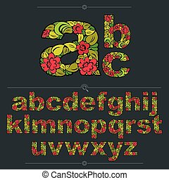 Floral alphabet sans serif letters drawn using abstract vintage pattern, spring leaves design. Colorful vector font created in natural eco style.