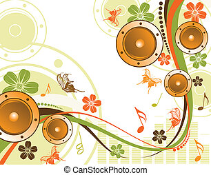 floral, alto-falante, fundo