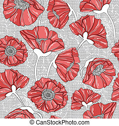 floral, amapola, seamless, patrón