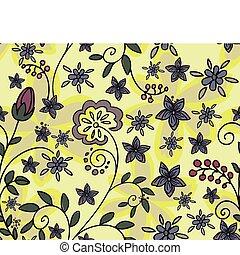 floral, amarela, seamless, fundo