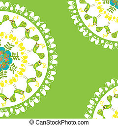 Floral and bird card with space for text, vector