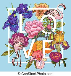 Floral and birds flamingos Love Graphic Design - with...